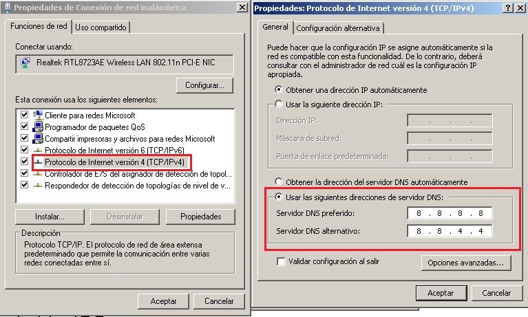 Cambiar DNS en IPv4