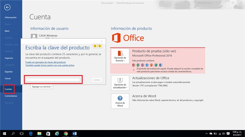 Como introducir claves del producto Office