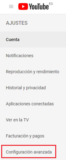 Configuracion avanzada de Youtube