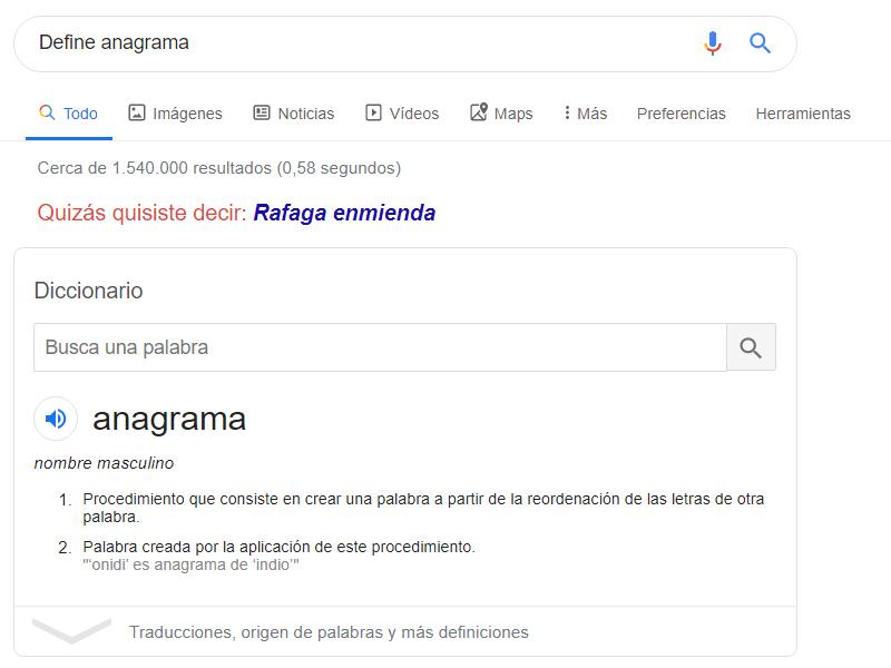 Define anagrama
