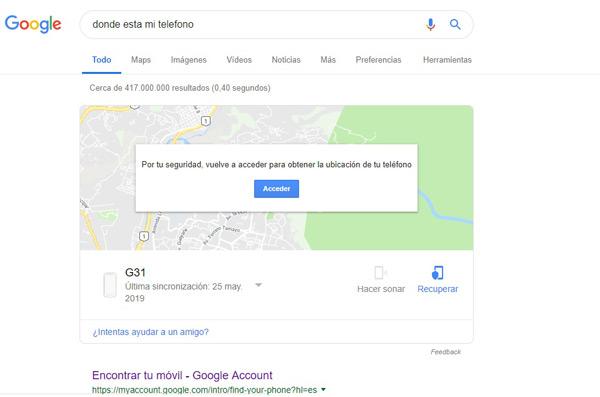 Desde el propio buscador de Google