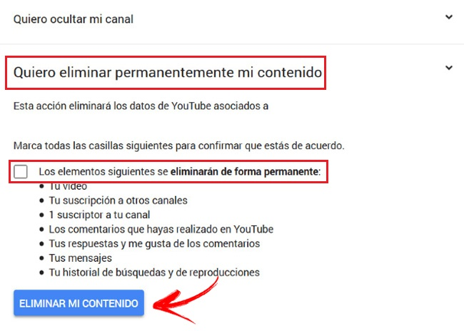 Eliminar contenido cuenta Youtube