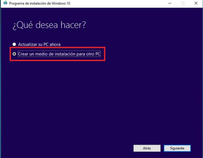 Instala Windows 10 directamente desde un USB
