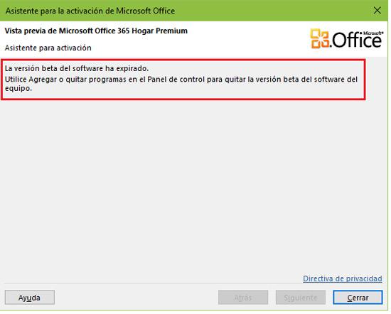 La version beta del software a expirado Microsoft Office