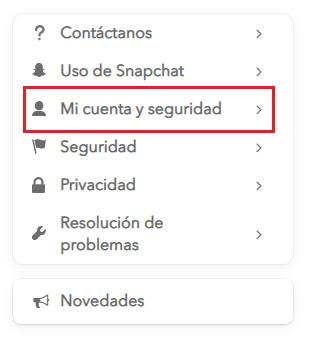 Mi cuenta y seguridad Snapchat