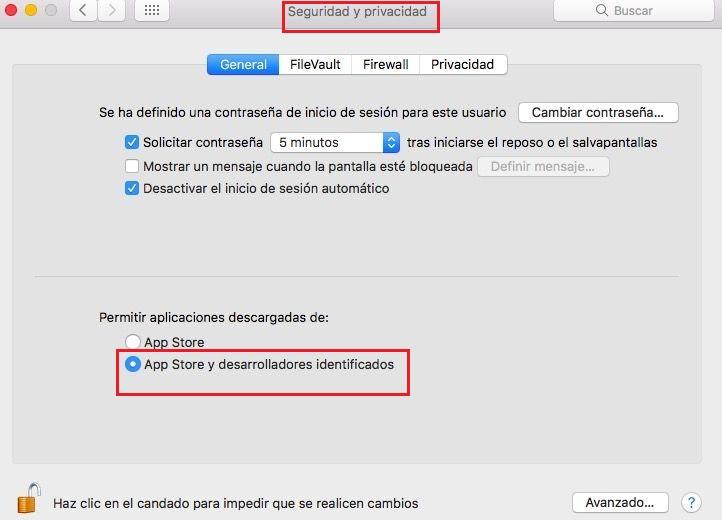 Permitir aplicaciones de orígenes desconocidos Mac