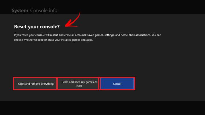 Restablecer consola Xbox One opciones