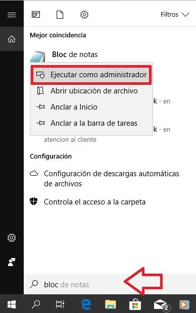 abrir blog de notas como administrador windows 10