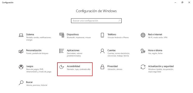 accesibilidad en windows