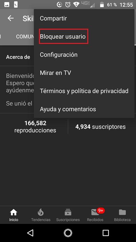 bloquear usuario en youtube desde android