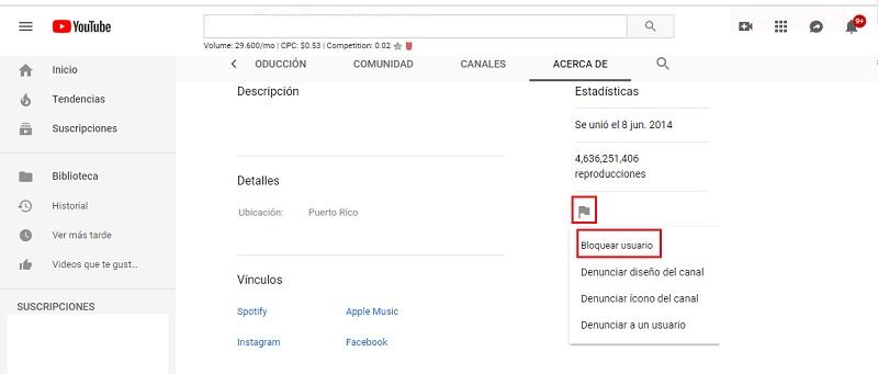 bloquear usuario en youtube