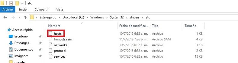 ubicacion del archivo hosts windows 10