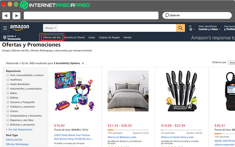 """Access the """"Deals of the day"""" section"""
