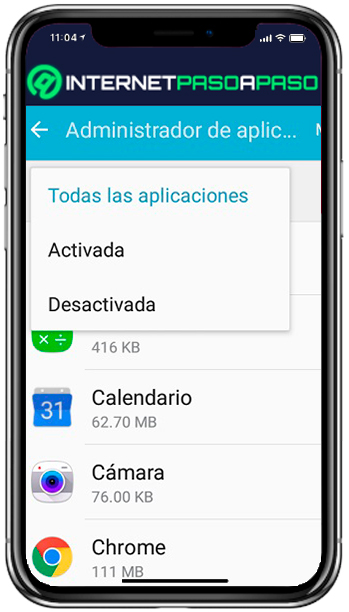 """Applications """"width ="""" 349 """"height ="""" 612 """"srcset ="""" https://internetpasoapaso.com/wp-content/uploads/Aplicaciones-10.jpg 349w, https://internetpasoapaso.com/wp-content/uploads/ Applications-10-257x450.jpg 257w """"data-lazy-sizes ="""" (max-width: 349px) 100vw, 349px """"src ="""" https://internetpasoapaso.com/wp-content/uploads/Applications-10.jpg """" ></p> <ul> <li>Later we enter where it says <strong>""""Application Manager"""".</strong> </li> </ul> <p></p> <ul> <li>Here we will have a list with the apps installed on the device, the same <strong>They will be categorized according to which are active and which are not.</strong> </li> </ul> <p><img class="""