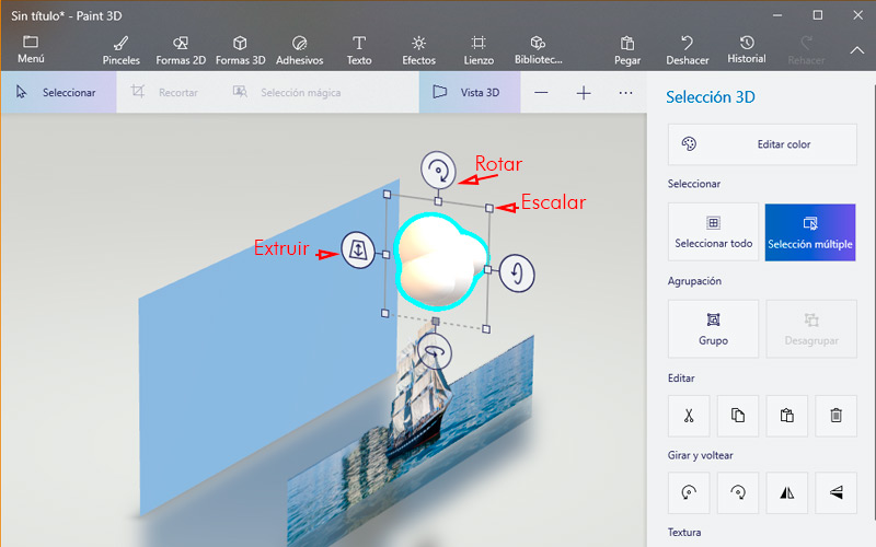 Learn step by step how to make 3D models with Paint 3D 2D View