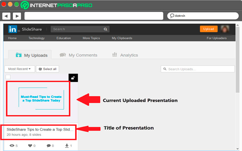 Copy the URL from SlideShare