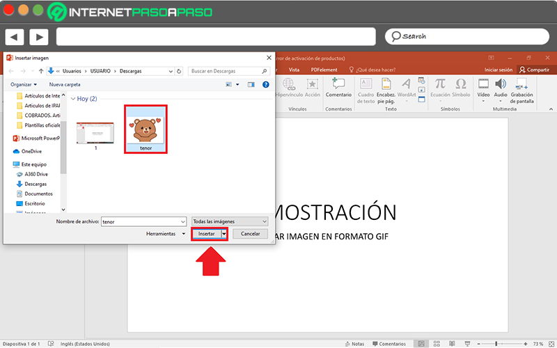 Learn step by step how to insert a GIF image into PowerPoint