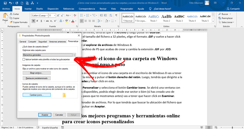 How to change the icon of a folder in Windows 8? Learn here step by step
