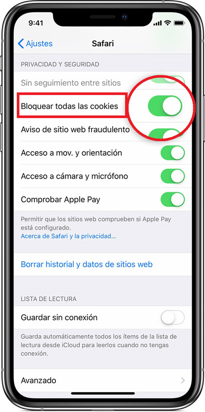 It is also possible to block cookies, in short