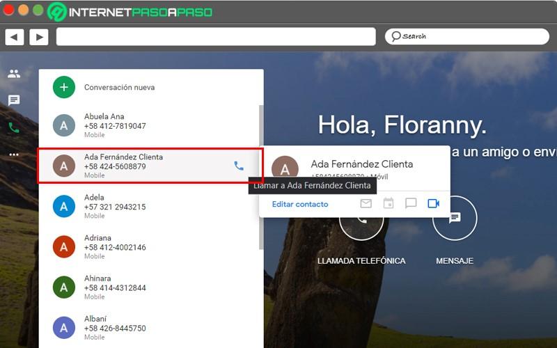 select contact Google Hangouts