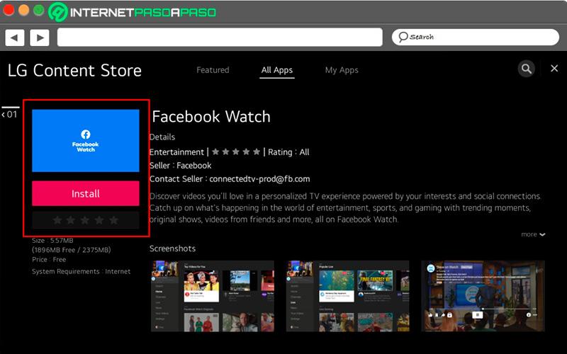 APP Facebook Regarder sur Smart TV