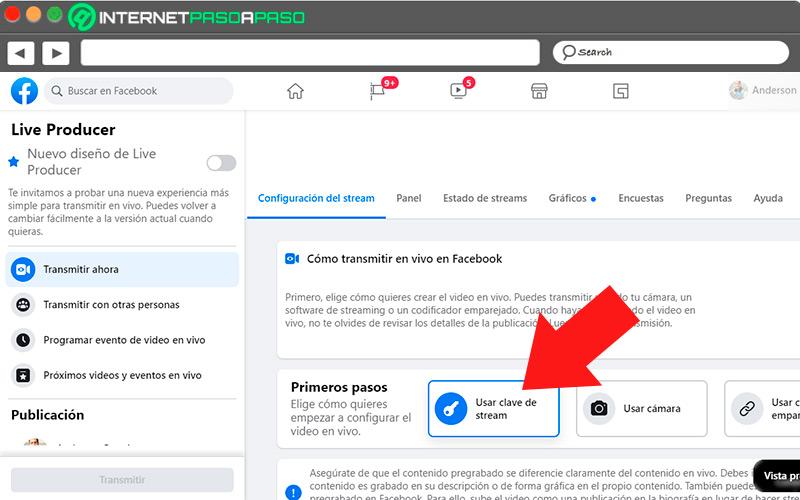 Utiliser la clé de transmission sur Facebook Live