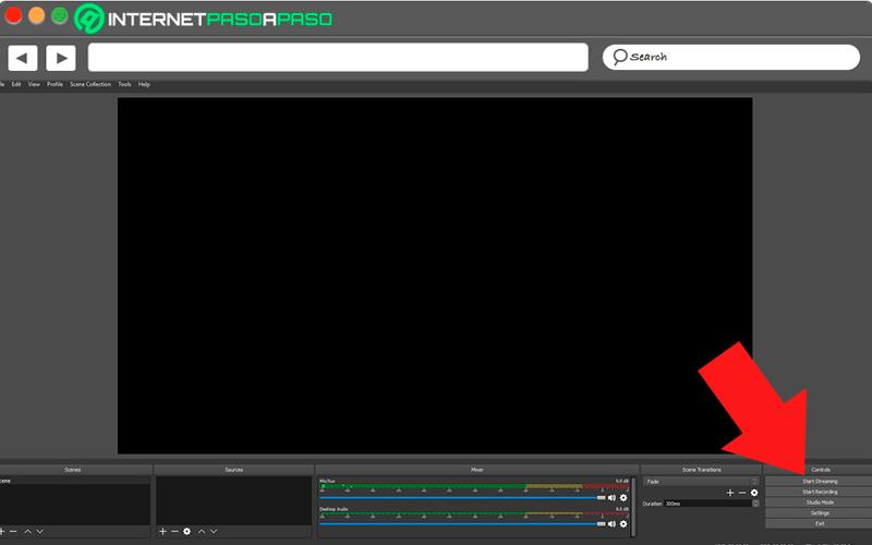 Start streaming in OBS Studio